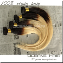 High quality two tone ombre hair silk straight weave blonde color human remy hair