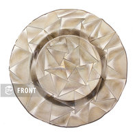 GP0013 Best selling gold triangle design round dinner plates