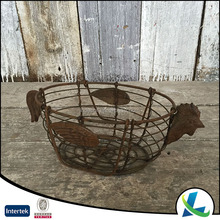 High Quality Wire Shabby Rooster Iron Basket With Handle