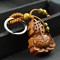 High-grade rosewood carved Buddha Lotus Keychain pendant ornaments keys