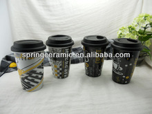 pvc packed ceramic coffee mug with silicone lid