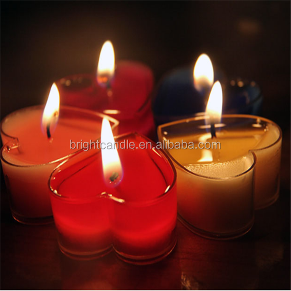 Romantic heart shape colorful scented tealight candle