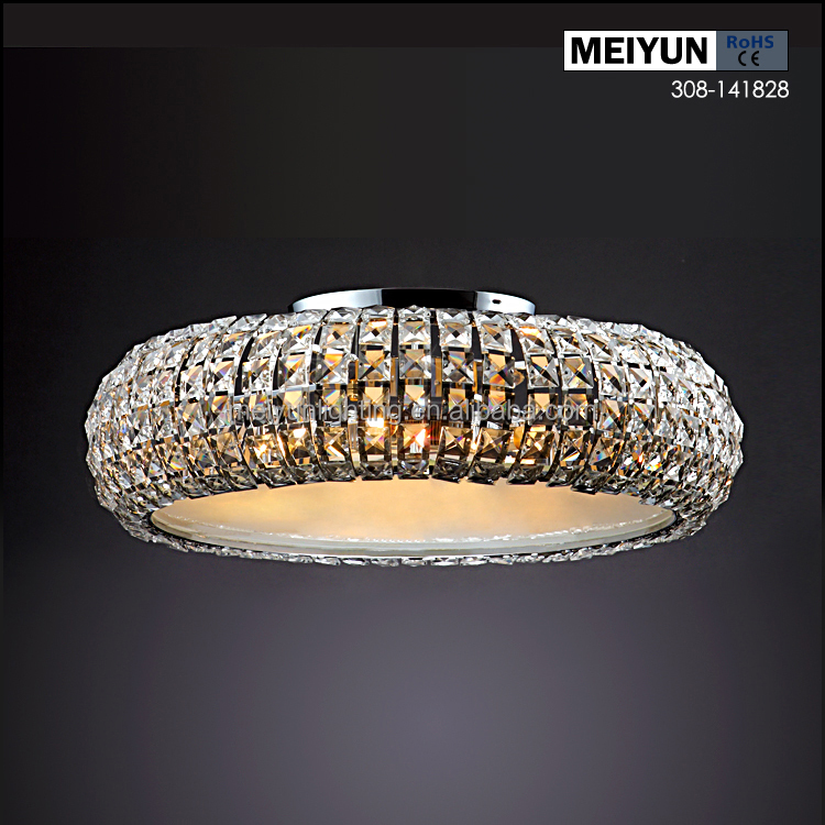 contemporary stainless steel K9 crystal led ceiling mounted light