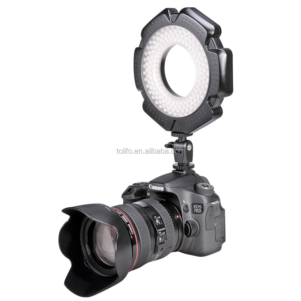 Tolifo Phantom 160 bright LEDs daylight 5600K macro ring continue light on camera powered with AA battery