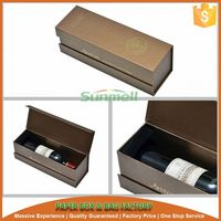 gold stamping cardboard wine gift boxes with black flocking plastic tray