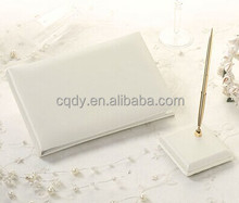 Western Plain Wedding guest book and pen set,ivory or white guest signature book and pen holder,wedding accessories