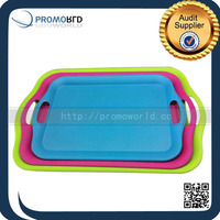Food Safe Biodegradable Anti-slip Bamboo Fiber Fast Food Serving Trays With Handle