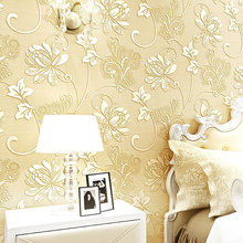 European Modern Nonwoven Silk Wallpaper Home Decoration 3D Flower Wall Paper