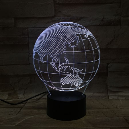 Earth shape silver table lamp 3D LED lamp for advertising gifts with logo
