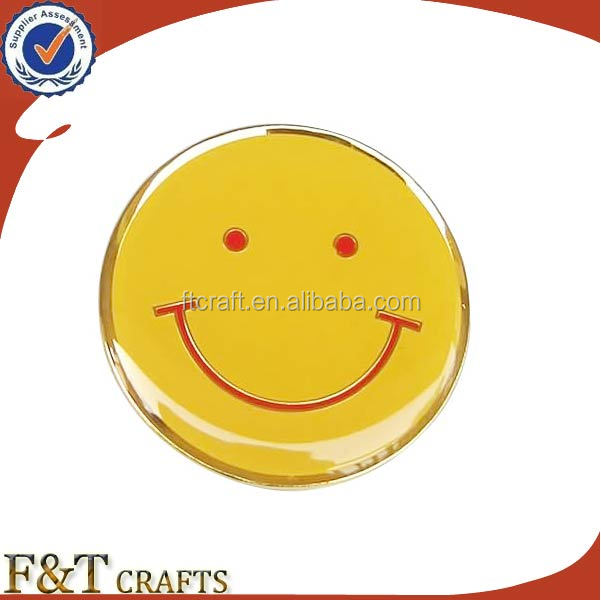 Hot selling decoration product smiley face round shape custom metal pins badge