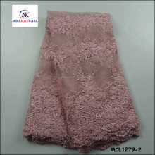 2016 Pink Beaded embroidery design flowers tulle lace/girls dress fabric MCL1279-2