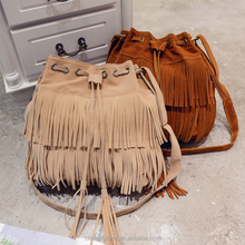 wholesale Fashion tassel bag bucket fringe crossbody Suede handbag shoulder bag for ladies women with great price