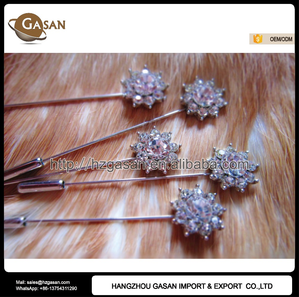 Wholesale Crystal Flower Muslim Hijab Scarf Long Stick Pins