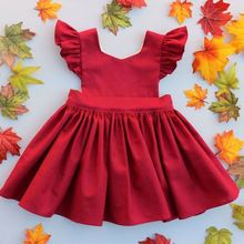 2017 Baby Girls Boutique Party Dress Children Flutter Red Color Birthday Sleeveless One Piece Smocked Skirt