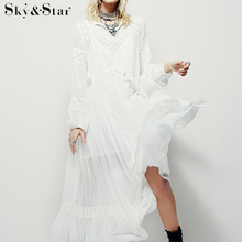 Hot sale long sleeves embroidered chiffon white maxi dress