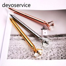 2017 Crystal Pen with gift box case Big carat diamond Ballpoint pen ring Lady wedding office school roller ball pen Rose gol