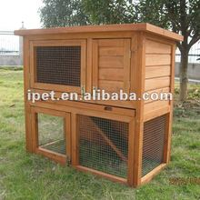 Cheap 3FT Outdoor 2 Story Wooden Rabbit Hutch with Plastic tray