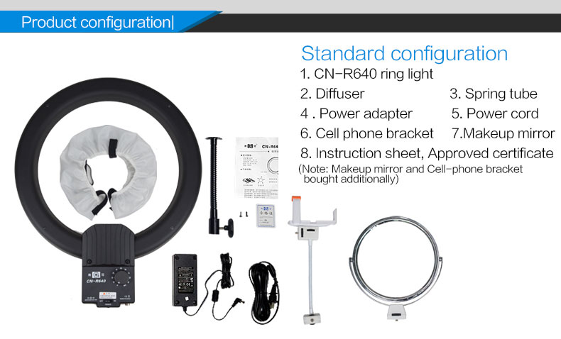 "NanGuang camera LED circle ring light CN-R640 19"" dimmable LED ring light 19inch for beauty for live stream"