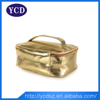 Promotion pvc shiny golden quilted cosmetic bag for travel used