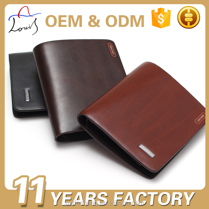 Wholesale OEM daily black pu leather men wallet