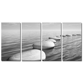 Black and White Seascape Wall Picture/basalt Zen Stone Canvas Art Dropship/rock Beach Canvas Wall Art for Decal