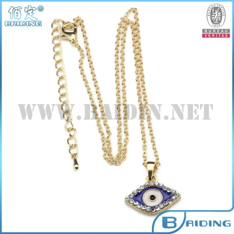 Blue evil eye pendant with crystal gold chain neckalce statement designs 2015