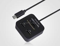 Mini portable Type c 3.1 combo usb hub + card reader 2 ports usb 2.0 hub + SD / TF card reader usb combo