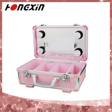 professional pink aluminium packing on wheels makeup case with lights