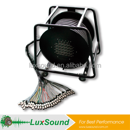 XLR multi-core snake cable, stage box cable, audio snake cable drum with idler wheel