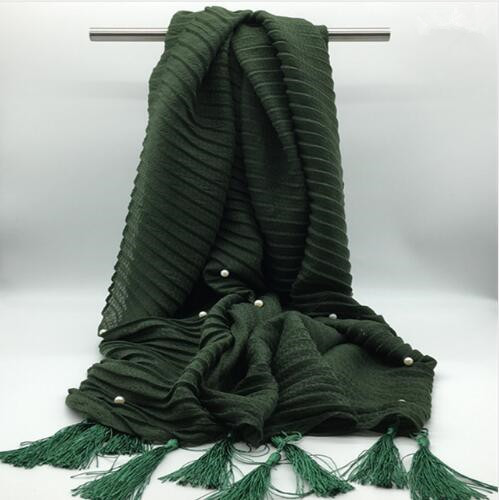 Women Plain Solid Color Pearl Hijab Cotton Scarf With Beads Long Size Tassel Scarves