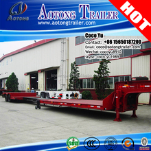 China 2 or 3 axles hydraulic ladder and steering wheels 5meters length extendable low bed semi trailer