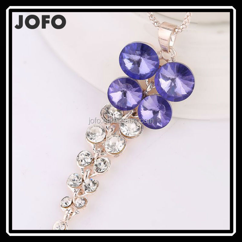 2015 Valentine's Day Gift Beautiful Crystal Flower Necklace For Girlfriend