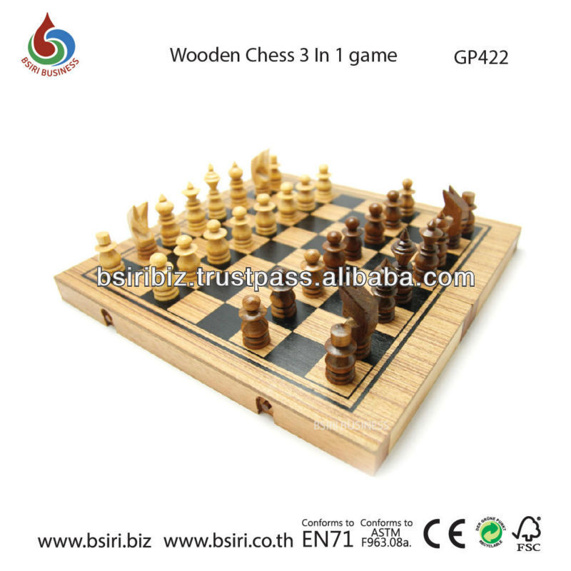 wooden puzzzle Wooden Chess 3 In1 game Small
