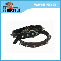 Wholesale Pet Products Leather Dog Collar And Leash Studded Rivets Charms Dog Collar