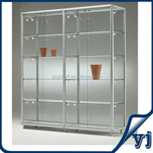 Custom Hexagon Sliding Glass Door Display/Glass Wall Showcase Tall Showcase for Mall Jewellry Kiosk