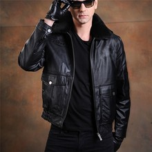 Cheap Price Mens Leather Bomber Fleece Down Jacket For The Winter