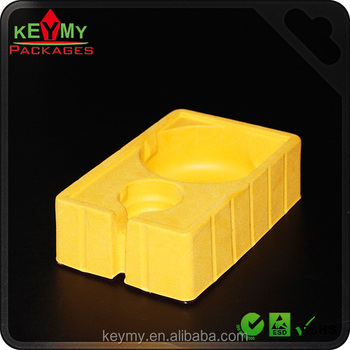 Yellow flocking tray for stationery gift with clear insert tray,hard lock blister package