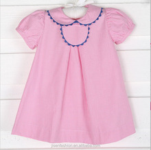 customed monogram pink gingham tab dress w royal blue trim school dress