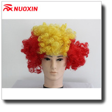 NX Women Football Cup National Flag Fans Wig Fanatic Halloween Colorful Party Wig Afro Kinky Curly Wigs