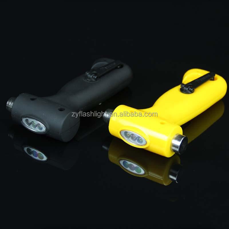 Multi função de defesa pessoal portátil martelo de emergência manivela luz