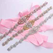 YS833 Handmade Rhinestone Applique A+ Grade Crystal Wedding Belt Design Beaded Sewing On Bridal Dress DIY