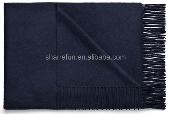 winter wear solid color plain woven 100% cashmere scarf