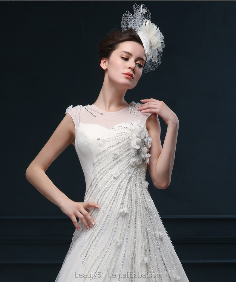 Appliqued Beading A-line Round Neckline Sleeveless Floor-length Lace bridal wedding dresses WD1609