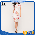 OEM manufacturer lush floral mesh high neckline dress designer one piece short dress