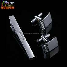 Shiny Silver Tie Pin Cufflinks Set and Tie Clip Cufflink Set