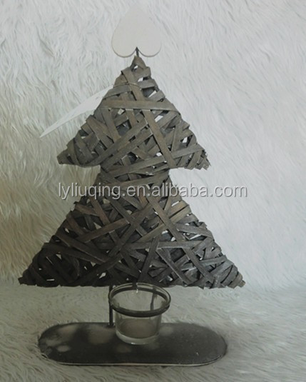 woven willow wicker Christmas Tree Candle Holder with glass cup foe decration