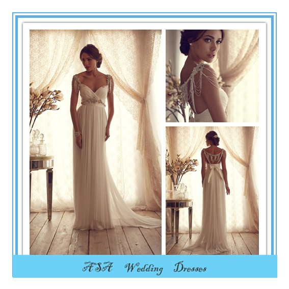 French Style Empire Open Back Wedding Dress Heavy Beaded Wedding ...