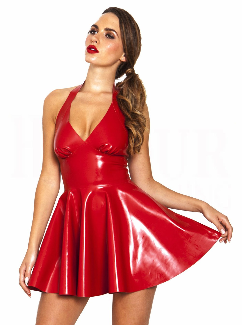 hot sale short sexy hot red dresses sexy red pvc vinyl dress