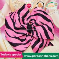 pink zebra print ribbon kids hair bows