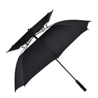 Promotion high quality double layer double canopy auto open pongee outdoor windproof air vent golf rain umbrella